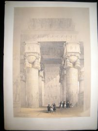 David Roberts Egypt 1848 LG Folio. Portico, Temple of Dendera Lithograph